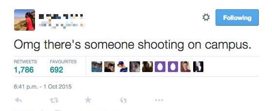 Voilà de quelle manière un étudiant du Umpqua Community College, comme beaucoup d'autres, a utilisé Twitter lors d'une attaque en octobre 2015.